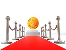 Libra crypto currency coin on red carpet and golden barrier 3D rendering image isolated on white background. M new Libra stock illustration