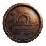 Libra de la muestra del horóscopo en el círculo de cobre imagenes de archivo