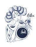 Libra de la muestra del zodiaco como muchacha hermosa horoscope astrología vencedor ilustración del vector