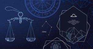 Libra de la muestra del zodiaco El símbolo del horóscopo astrológico Bandera horizontal libre illustration