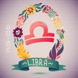 LIBRA de la muestra del zodiaco, en guirnalda floral dulce Muestra, flores, hojas y cinta del horóscopo Fotos de archivo libres de regalías