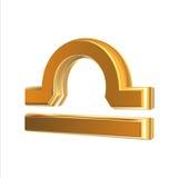 Libra de oro de la muestra del zodiaco Fotos de archivo