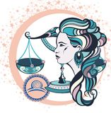 Libra decorativo de la muestra del zodiaco stock de ilustración