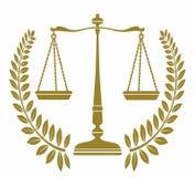 Libra del icono con la guirnalda del laurel justicia stock de ilustración