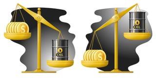 libra Dollar och olje- trumma Oljeprishastighet upp och ner Royaltyfri Bild