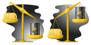 Libra. Dollars and oil barrel. Oil price rate up and down. Vector illustration. Elements is grouped for easy edit Royalty Free Stock Image