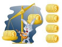 Libra e coelho engraçado Taxa de moeda Dólar, Euro, iene, libra esterlina Fotografia de Stock Royalty Free