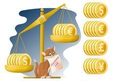 Libra e gato engraçado Taxa de moeda Dólar, Euro, iene, libra ste Foto de Stock Royalty Free