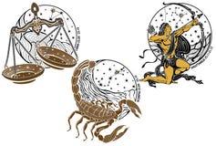 Libra, escorpión, muestra del zodiaco del sagitario. Horóscopo Imagen de archivo libre de regalías