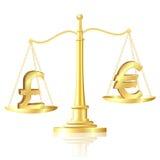 Libra esterlina compensa libra esterlina em escalas. Foto de Stock