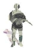 Libra esterlina de los dólares del dinero en circulación del soldado del dinero Imágenes de archivo libres de regalías