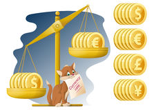 Libra and funny cat. Currency rate. Dollar, Euro, yen, pound ste Royalty Free Stock Photo