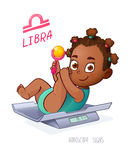 LIBRA horoscope sign. African American Baby Girl lies on the scales and playing rattle. LIBRA zodiac sign Stock Photo