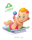 LIBRA horoscope sign. Baby Girl lies on the scales and playing rattle. LIBRA zodiac sign. Royalty Free Stock Photography
