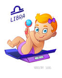 LIBRA horoscope sign. Baby Girl lies on the scales and playing rattle. LIBRA zodiac sign. Stock Photos
