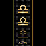 Libra Horoscope Symbols. Golden embossed zodiac icons in three styles for the astrology air Sign, Libra, with textured black background Stock Image