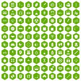 100 libra icons hexagon green. 100 libra icons set in green hexagon isolated vector illustration Stock Image