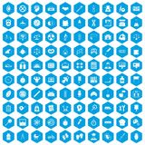 100 libra icons set blue. 100 libra icons set in blue hexagon isolated vector illustration vector illustration