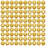 100 libra icons set gold. 100 libra icons set in gold circle isolated on white vector illustration Stock Image