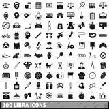 100 libra icons set, simple style. 100 libra icons set in simple style for any design vector illustration Royalty Free Stock Image