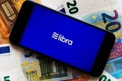 Libra jest nowym cryptocurrency tworzącym Facebook fotografia royalty free