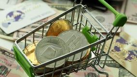 Libra - nueva moneda azul del cryptocurrency metrajes