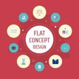 Libra plano de los iconos, tarjeta de la identificación, cartera y otros elementos del vector El sistema de Job Flat Icons Symbol Imagen de archivo