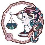 libra podpisuje zodiaka Wektorowa ilustracja dziewczyna royalty ilustracja