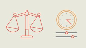 Libra question mark check mark money and clock. Motion Graphics. Animation Video stock video