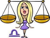 Libra or the scales zodiac sign. Cartoon Illustration of Libra or The Scales Horoscope Zodiac Sign Stock Photo