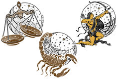 Libra, Scorpio, Sagittarius Zodiac Sign. Horoscope Royalty Free Stock Image