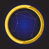 Libra star horoscope zodiac in fish eye telescope with cosmos background Royalty Free Stock Image