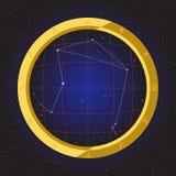 Libra star horoscope zodiac in fish eye telescope with cosmos background. Libra star horoscope zodiac in fish eye telescope golden ring frame with cosmos Royalty Free Stock Image