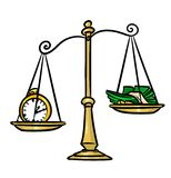 Libra time management cartoon illustration Stock Photos