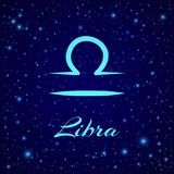 Libra. Vector zodiac sign on a night sky royalty free stock image