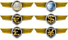 Libra Yen Metal Wings dos dólares do Euro Fotografia de Stock