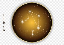 Libra zodiac constellations sign on beautiful starry sky with galaxy and space behind. Balance horoscope symbol constellation on d. Eep cosmos background Stock Photo