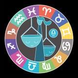Libra zodiac sign. Aquarius, leo, taurus, cancer, pisces, virgo, capricorn, sagittarius, aries, gemini, scorpio. Cartoon scales. royalty free illustration