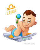 LIBRA zodiac sign. Baby Boy lies on the scales and playing rattle. LIBRA horoscope sign Stock Images