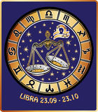 Libra zodiac sign.Horoscope circle.Retro. One Libra  with symbols of all zodiac signs in Horoscope circle.Golden and white figure on blue background.Graphic Stock Images