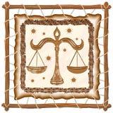 Libra Zodiac Sign on Native Tribal Leather Frame. Libra Zodiac Sign on Native Tribal and Grunge Leather Frame. Original Vector Graphic Art Copyright BluedarkArt Royalty Free Stock Photography