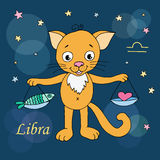 Libra zodiac sign on night sky background with stars. Design elements for calendars or cards. Vector illustration of cute cat in cartoon style Stock Photos