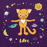 Libra zodiac sign on night sky background with stars. Sun, moon and planets. Design elements for calendars or cards. Vector illustration of cute cat in cartoon Royalty Free Stock Image