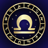 Libra zodiac sign in circle frame Royalty Free Stock Image