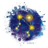 Libra Zodiac Sign with Watercolor Textured Stain. royalty free illustration