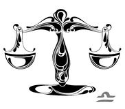 Libra zodiac vector sign. Tattoo design Royalty Free Stock Photos