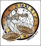 Libra zodiaka znak. Horoskopu okrąg. Obrazy Royalty Free