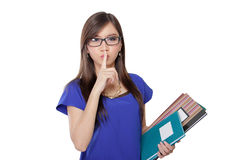 Librarian asking for silence Royalty Free Stock Photo