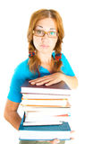Librarian with books. Isolation on the white Royalty Free Stock Photography