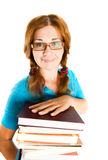 Librarian with books. Royalty Free Stock Photos